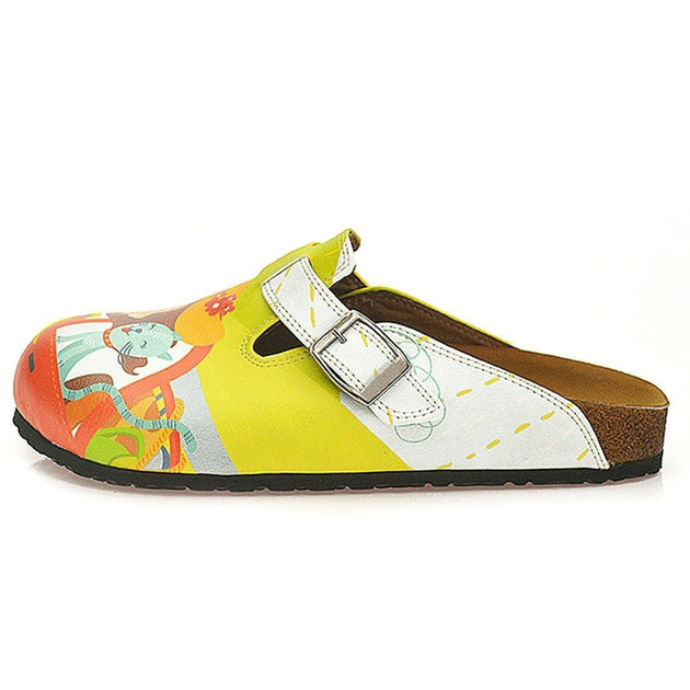 White and Yellow Colored, Cat in the Car and Happy Girl Patterned Clogs - WCAL332