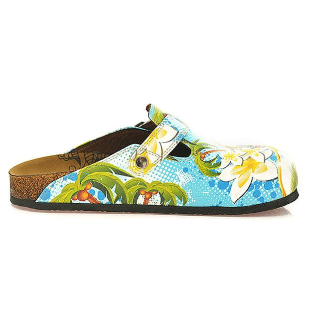 Calceo WCAL337 Blue & Yellow Tropical Clogs Clogs Shoes - Goby Shoes UK