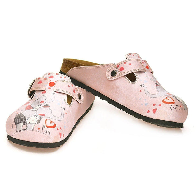 CALCEO Pink and Red Colored, Fun Elephant Patterned Clogs - WCAL338 Clogs Shoes - Goby Shoes UK