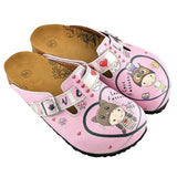 CALCEO Pink and Red Heart Patterned Cute Child and Forever Written Patterned Clogs - WCAL339 Clogs Shoes - Goby Shoes UK
