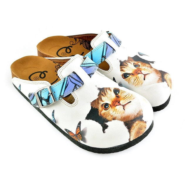 CALCEO Blue and Purple Colored Patterned and Sweet Cat Patterned Clogs - WCAL341 Women Clogs Shoes - Goby Shoes UK