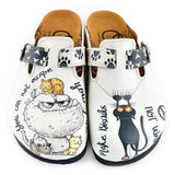 CALCEO Black Paw and Cute Naughty Animals Patterned Clogs - WCAL342 Women Clogs Shoes - Goby Shoes UK