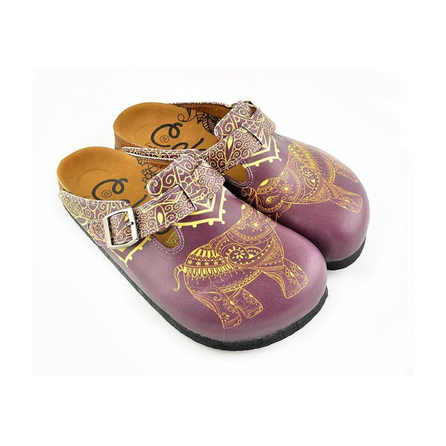Yellow Moazic Patterned and Purple Elephant Patterned Clogs - WCAL345