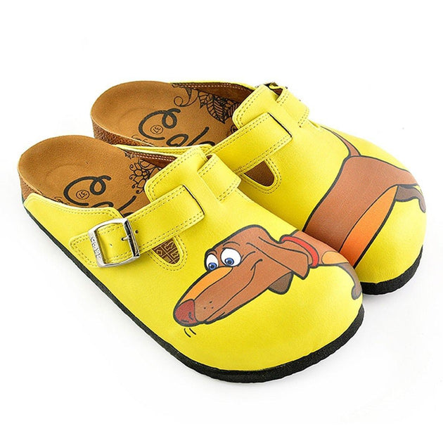 Yellow Colored and Brown Dachshund Dog Patterned Clogs - WCAL346