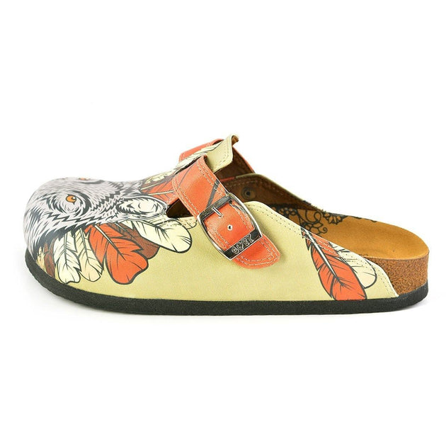CALCEO Red Colored and White, Black Feathers and Fox Patterned Clogs - WCAL350 Clogs Shoes - Goby Shoes UK