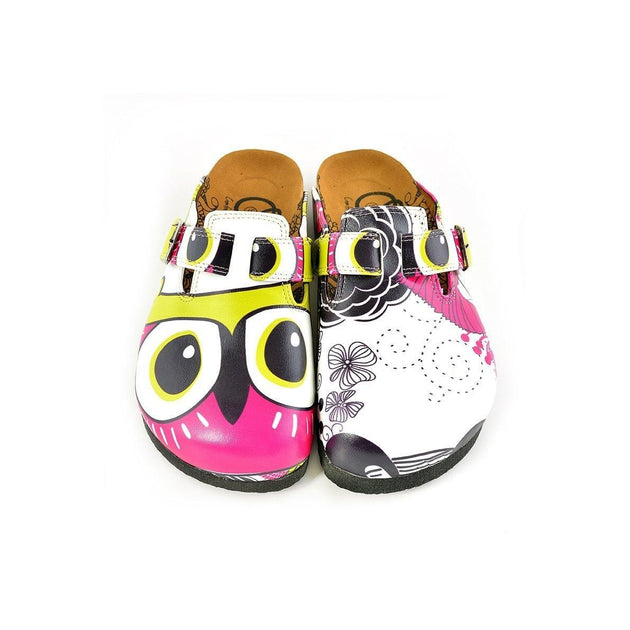 CALCEO Black and White Flowers Patterned, Yellow, Purple Colored Owl Patterned Clogs - WCAL351 Women Clogs Shoes - Goby Shoes UK