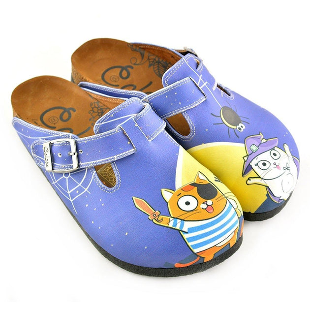 CALCEO Blue Moon Light and Naughty Cat Patterned Clogs - WCAL352 Women  Clogs Shoes - Goby ... 6c0c873355