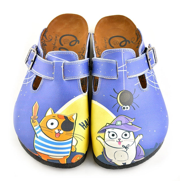 ... CALCEO Blue Moon Light and Naughty Cat Patterned Clogs - WCAL352 Women  Clogs Shoes - Goby ... 8ac88b0178