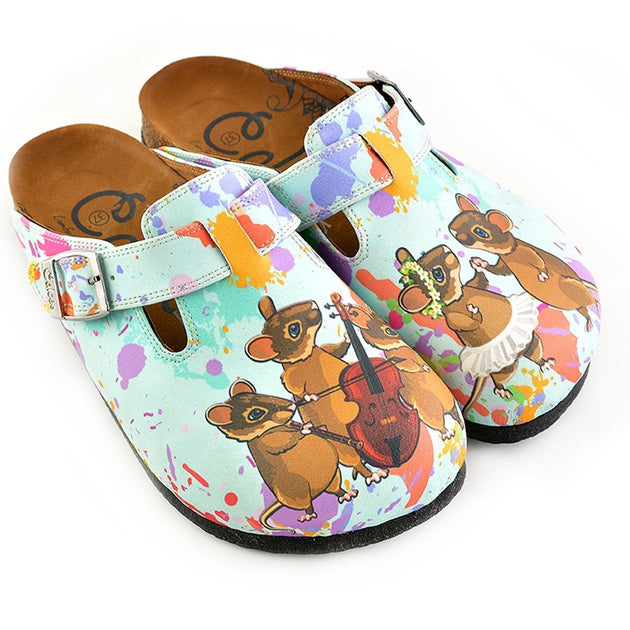CALCEO Colored Watercolor Patterned and Brown Dancing Cute Mouse Patterned Clogs - WCAL353 Women Clogs Shoes - Goby Shoes UK