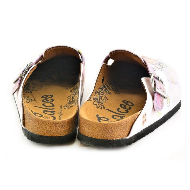 CALCEO Purple and White Colored, Patterned and Mom and Kids Patterned Clogs - WCAL354 Clogs Shoes - Goby Shoes UK
