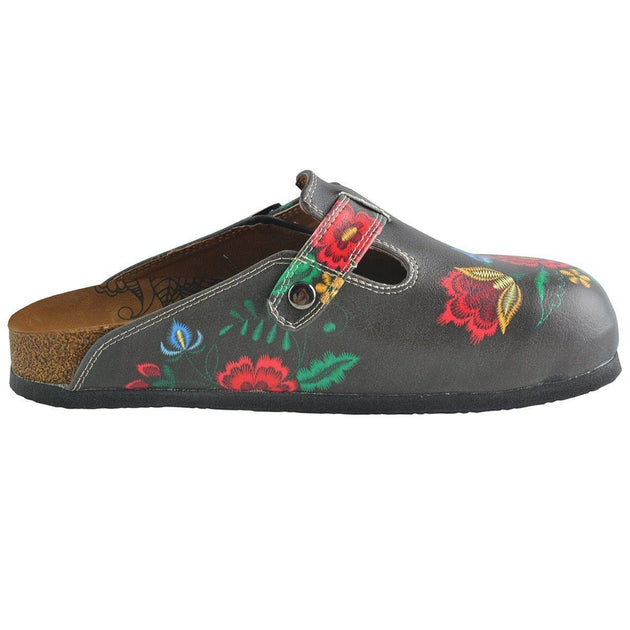 CALCEO Red, Grey, Yellow Colored Flowers Patterned Clogs - WCAL355 Clogs Shoes - Goby Shoes UK