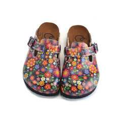 CALCEO Black and Colored Flowers Patterned Clogs - WCAL357 Women Clogs Shoes - Goby Shoes UK