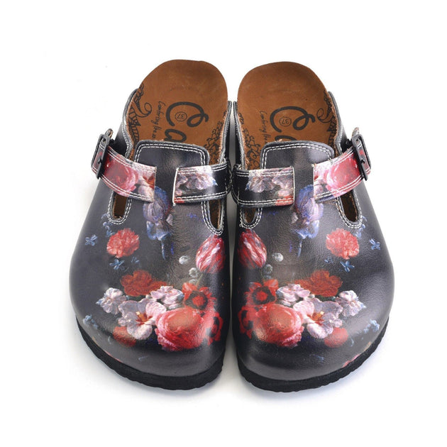 CALCEO Black and White, Red Colored Flowered Patterned Clogs - WCAL358 Women Clogs Shoes - Goby Shoes UK