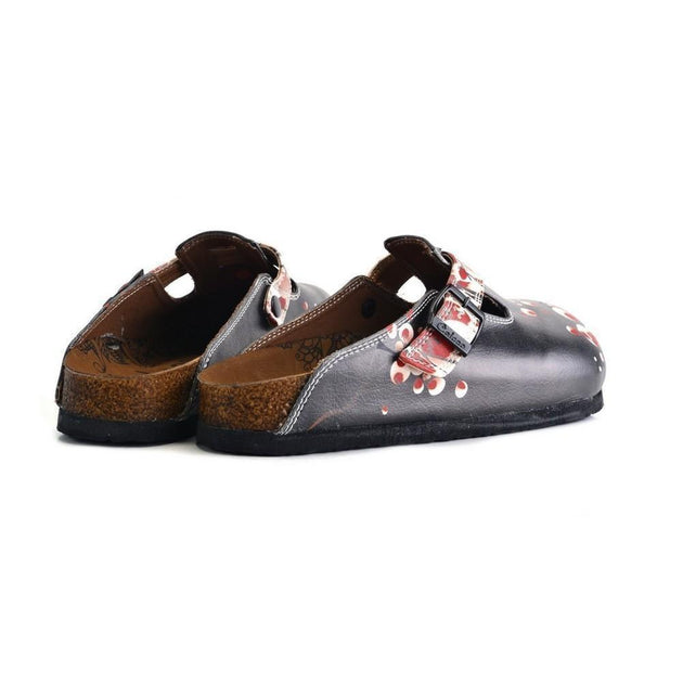 CALCEO Black and White, Red Flowers Patterned Clogs - WCAL359 Women Clogs Shoes - Goby Shoes UK