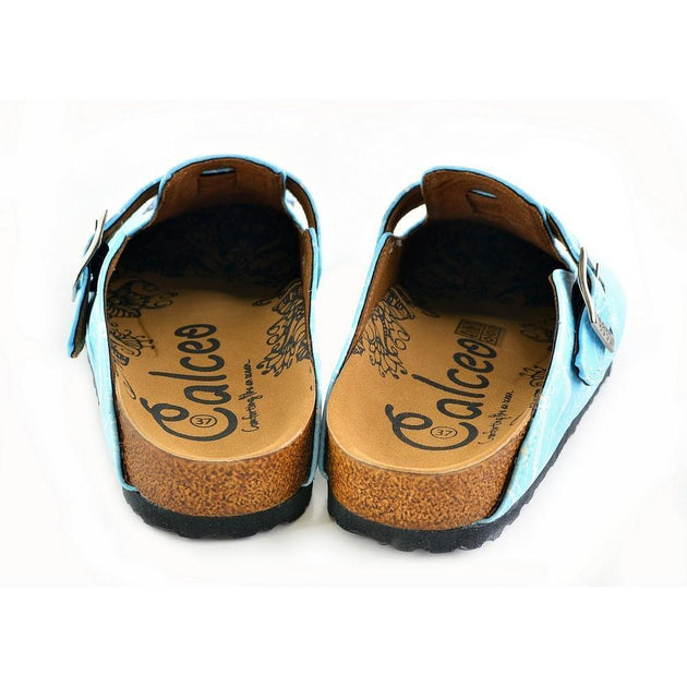 CALCEO Bright Blue Sky and Black Butterflied Patterned Clogs - WCAL361 Women Clogs Shoes - Goby Shoes UK