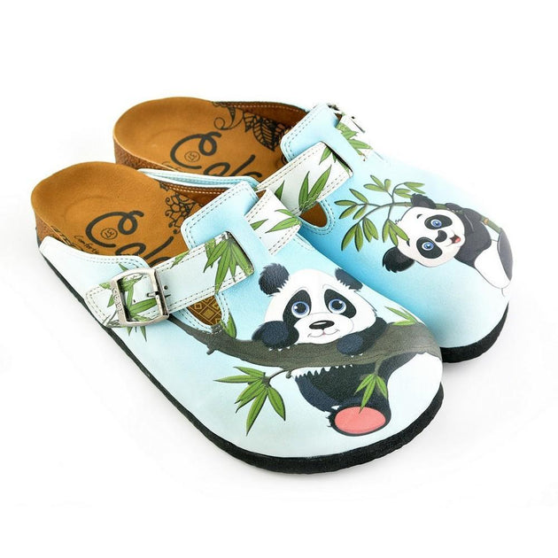 e83e05d88427d CALCEO Light Blue Colored and Brown, Green Tree Leafed, Panda Patterned  Clogs - WCAL362 ...