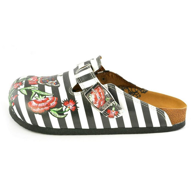 CALCEO Black and White Straight Striped, Black Butterfly and Red Flowers Patterned Clogs - WCAL363 Women Clogs Shoes - Goby Shoes UK