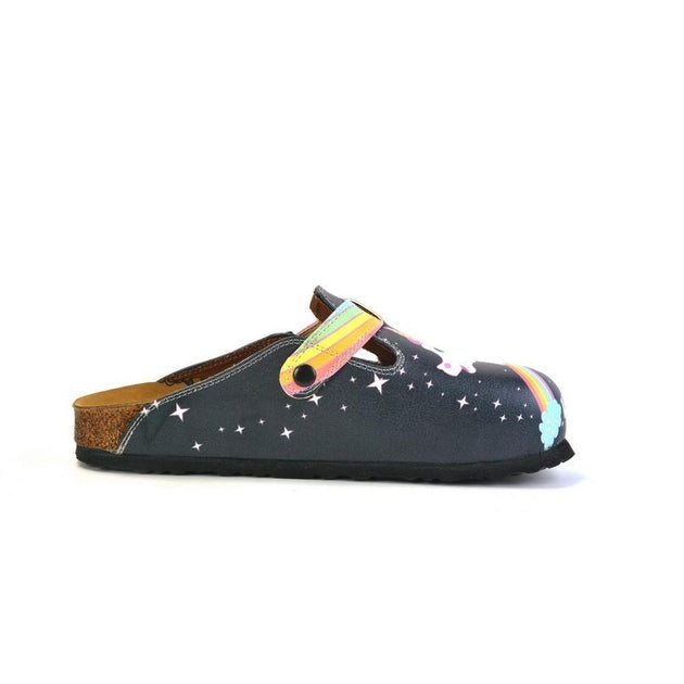 CALCEO Black Colored and Rainbow, Running Unicorn Patterned Clogs - WCAL364 Women Clogs Shoes - Goby Shoes UK