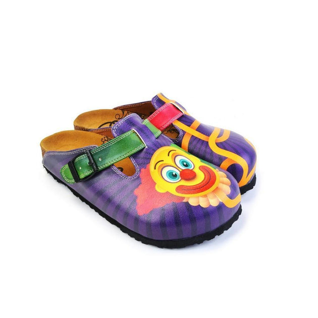 CALCEO Green, Purple and Red Colored Patterned and Yellow Clown Patterned Clogs - WCAL365 Women Clogs Shoes - Goby Shoes UK