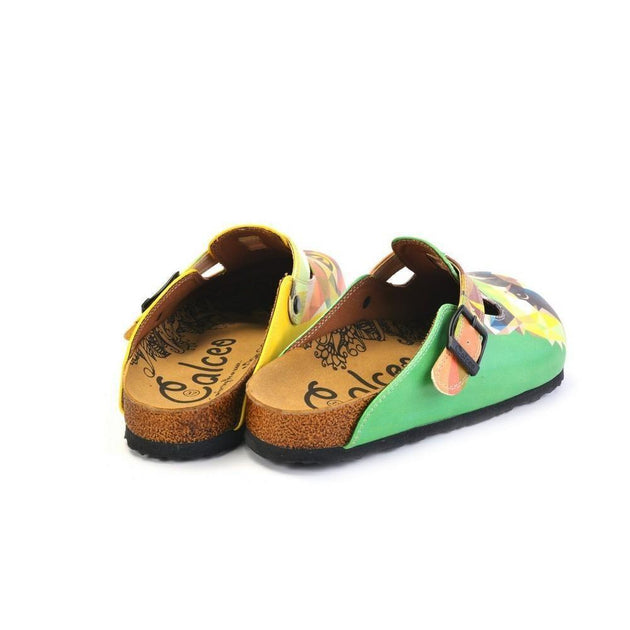 CALCEO Green and Yellow Colored, Polygon Patterned Dog and Cat Patterned Clogs - WCAL366 Women Clogs Shoes - Goby Shoes UK