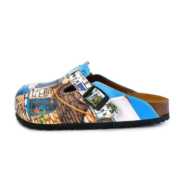 CALCEO Blue and White Colored, Home Patterned Clogs - WCAL367 Women Clogs Shoes - Goby Shoes UK