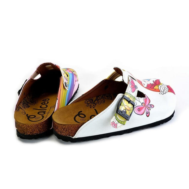 White and Pink Colored Unicorn Patterned, Colorful Cute Owl Patterned Clogs - WCAL369
