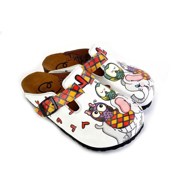 CALCEO Red and Yellow Square Patterned, Sleeping Owl and Grey Elephant Patterned Clogs - WCAL370 Clogs Shoes - Goby Shoes UK
