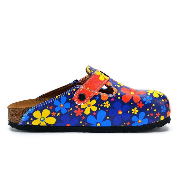 CALCEO Blue Colored and Colorful Flowers Patterned Clogs - WCAL371 Women Clogs Shoes - Goby Shoes UK