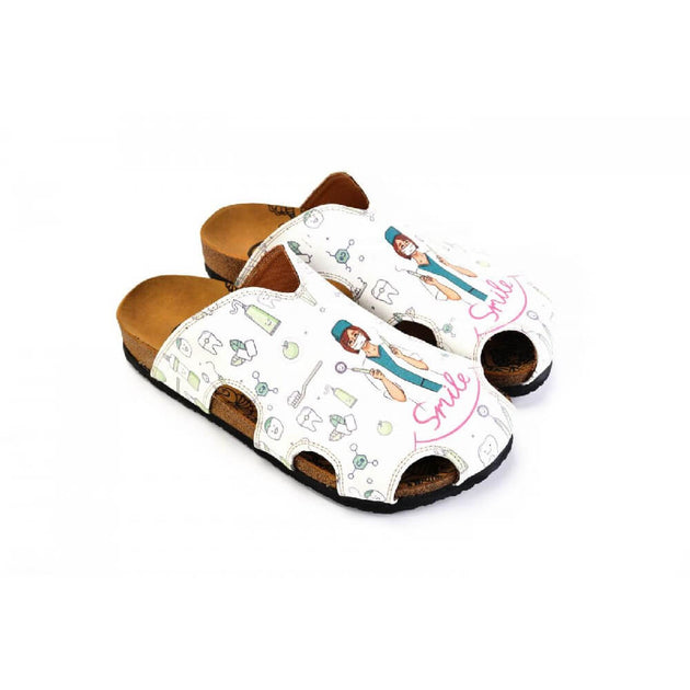 White and Pink Colored, Smile Written, Dentist Patterned Clogs - WCAL605