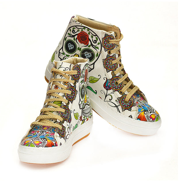 Goby WCV2032 Skull and Mandala Sneaker Boots Women Boots Shoes - Goby Shoes UK