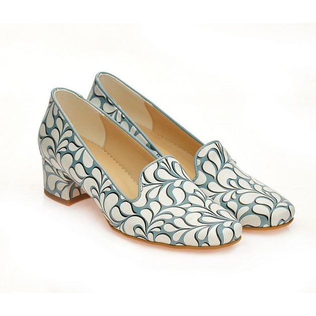Blue and White Pattern Career Heel Shoes WDB108