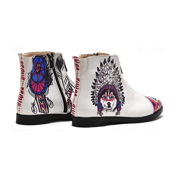 GOBY Indian Wolf Short Boots WFER105 Women Short Boots Shoes - Goby Shoes UK