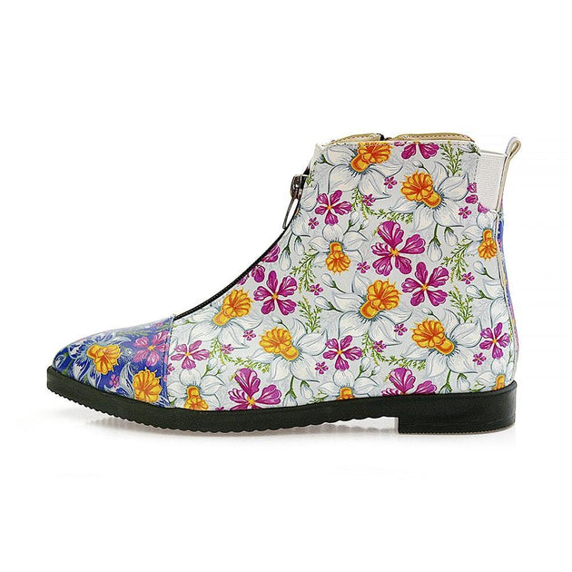 GOBY Flowers and Butterfly Short Boots WFER114 Women Short Boots Shoes - Goby Shoes UK