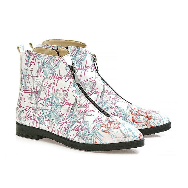 GOBY Flowers Short Boots WFER116 Women Short Boots Shoes - Goby Shoes UK