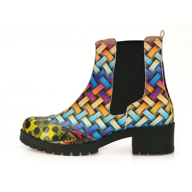 GOBY Colored Wicker Short Boots WLAS116 Women Short Boots Shoes - Goby Shoes UK