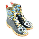 Goby WTMB1041 Skull Long Boots Women Boots Shoes - Goby Shoes UK