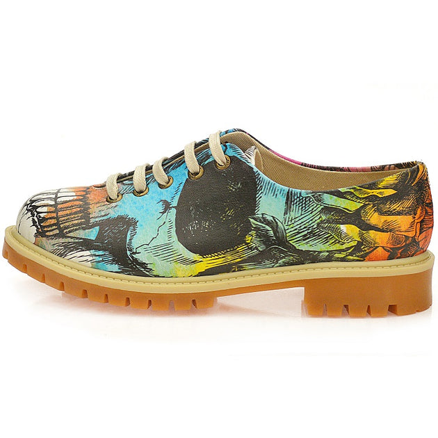 Goby WTMK6515 Colored Skull Women Oxford Shoes - Goby Shoes UK