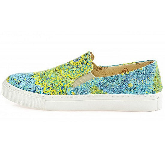 Goby WVN4038 Blue and Yellow Pattern Women Sneakers Shoes - Goby Shoes UK