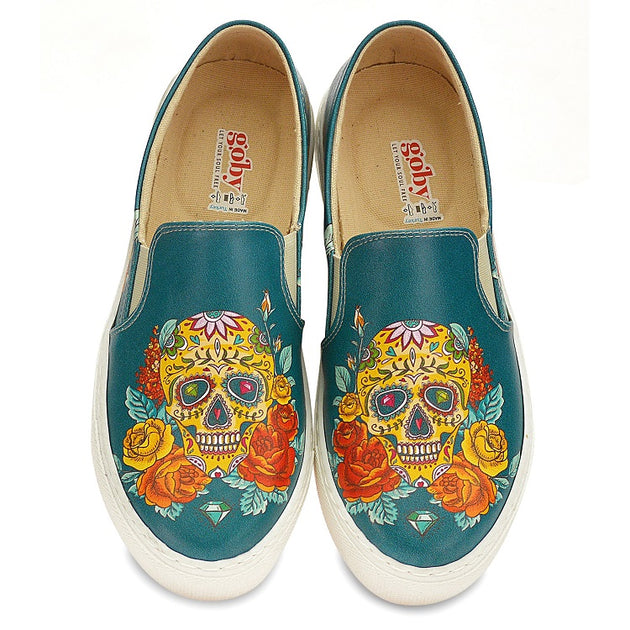 Goby WVN4043 Pattern Skull Women Sneakers Shoes - Goby Shoes UK
