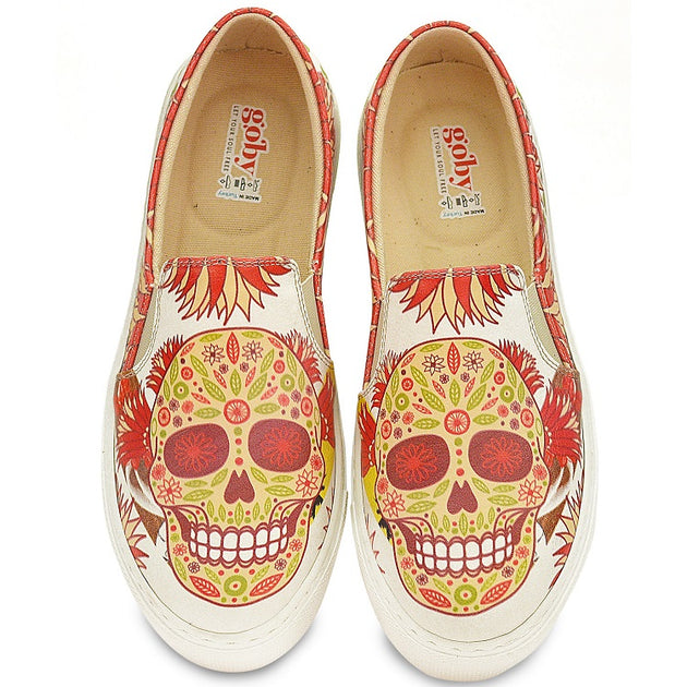 Goby WVN4045 Pattern Skull Women Sneakers Shoes - Goby Shoes UK