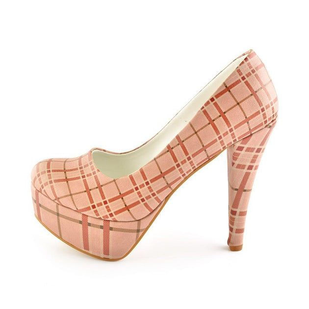 Pink Squares Heel Shoes PLT2009