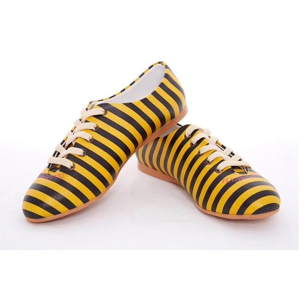 Black and Yellow Striped Ballerinas Shoes SLV073, Goby, GOBY Ballerinas Shoes