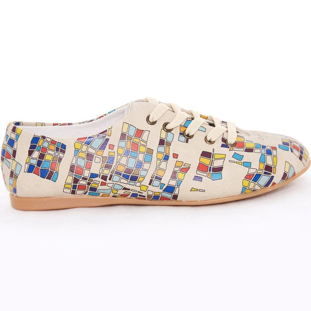 Goby SLV78 Colored Squares Women Ballerinas Shoes - Goby Shoes UK