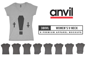 Anvil Knitwear 380VL Women's Lightweight Fitted V-Neck Mockups