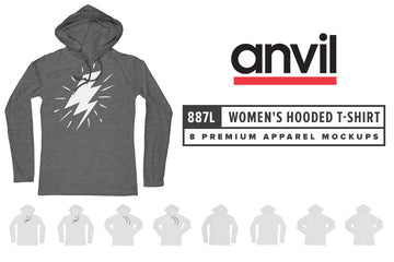 Anvil Knitwear 887L Women's Lightweight Long Sleeve Hooded T-Shirt Mockups