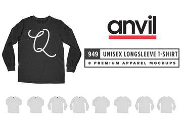 Anvil Knitwear 949 Lightweight Fashion Long Sleeve T-Shirt Mockups