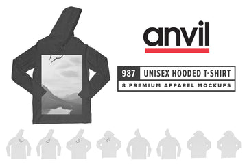 Anvil Knitwear 987 Lightweight Long Sleeve Hooded T-Shirt