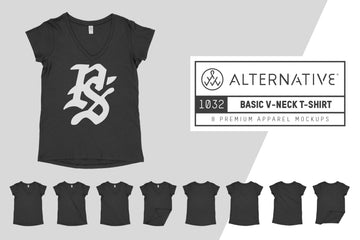 Alternative Apparel 1032 V-Neck T-Shirt Mockups