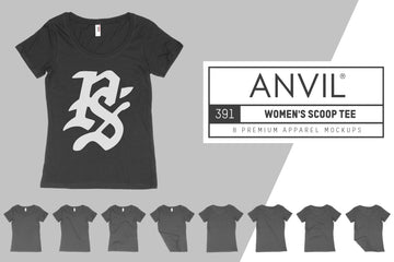 Anvil Knitwear 391 Women's Featherweight Scoop T-Shirt Mockups