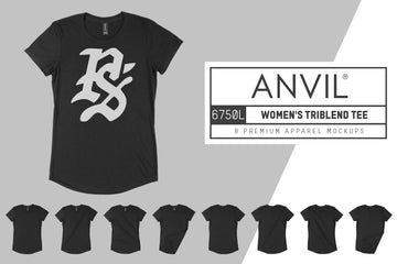 Anvil Knitwear 6750L Women's Tri-Blend T-Shirt Mockups